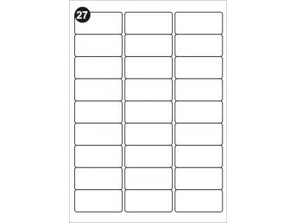 Samolepící etikety 63,5x29,6 mm, A4 - bílé  (balení 100 listů)