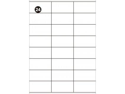 Samolepící etikety 70x36 mm, A4 - bílé  (balení 100 listů)