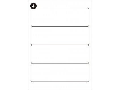 Samolepící etikety 192x61 mm, A4 - bílé  (balení 100 listů)
