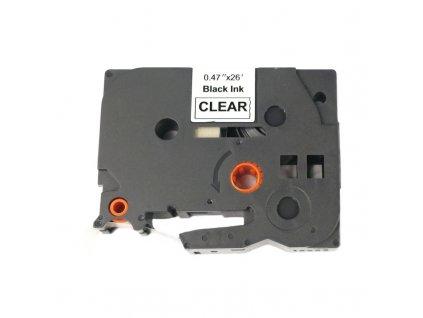 Páska pro popisovače BROTHER - typ TZE-131 - 12 mm průhledná - černý tisk - kompatibilní