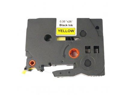 Páska pro popisovače BROTHER - typ TZE-621 - 9 mm žlutá - černý tisk - kompatibilní