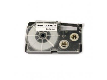 Páska pro popisovače CASIO - typ XR-9X - 9 mm průhledná - černý tisk - kompatibilní