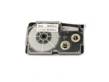 Páska pro popisovače CASIO - typ XR-9WE - 9 mm bílá - černý tisk - kompatibilní