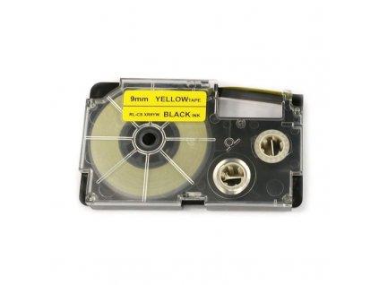 Páska pro popisovače CASIO - typ XR-9YW - 9 mm žlutá - černý tisk - kompatibilní