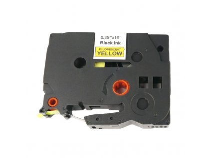 Páska pro popisovače BROTHER TZE-C21 Fluorescent Yellow / Black print 9mm - kompatibilní
