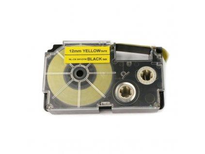 Páska pro popisovače CASIO XR-12YW Yellow / Black print 12mm - kompatibilní