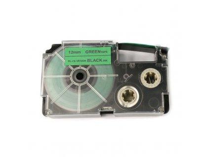 Páska pro popisovače CASIO XR-12GN Green / Black print 12mm - kompatibilní