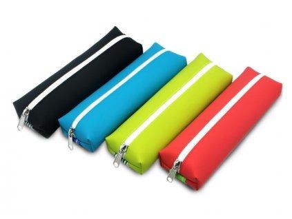 Pouzdro na tužky BASIC COLOR tyrkysové s gumou na zápisník - velké