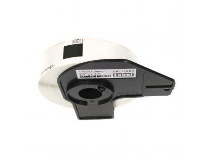 Štítky pro tiskárny BROTHER QL - typ DK-11204 - kompatibilní - 17 mm x 54 mm - 400 kusů, bílá (univerzální štítky)