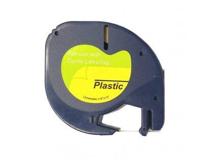 Páska pro popisovače DYMO - typ 59422 - 12 mm bílá - černý tisk (Plastic pro LetraTag) - kompatibilní