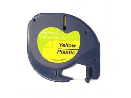 Páska pro popisovače DYMO - typ 59423 - 12 mm žlutá - černý tisk (Plastic pro LetraTag) - kompatibilní