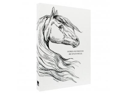 Poznámkový blok A6 WHITE BOOK HORSE bílý
