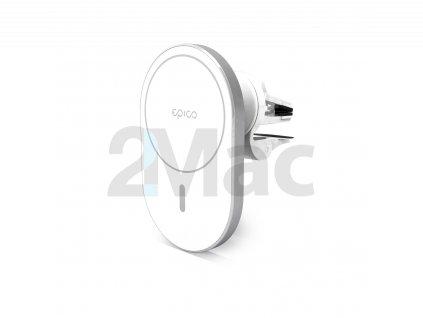 Epico Ellipse Wireless Car Charger (MagSafe compatible) 15W/10W/7,5W + 18W QC - stříbrná