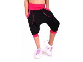 Detské tanečné nohavice ELECTRIC čierne - ružové (Veľkosť 146-152cm)