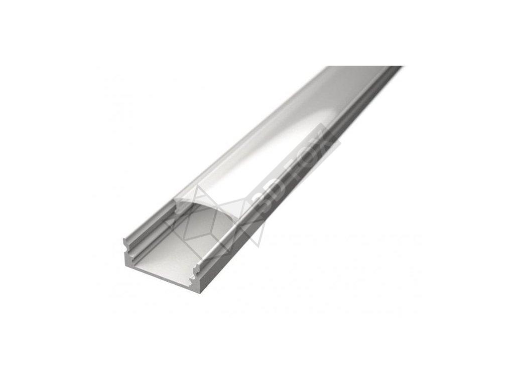 Nástěnný hliníkový profil s difuzorem pro LED 1m