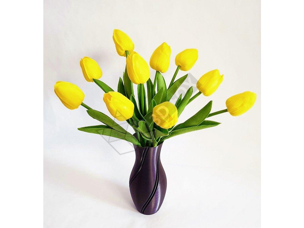 3D tištěná váza s kontrastní strunou a kyticí