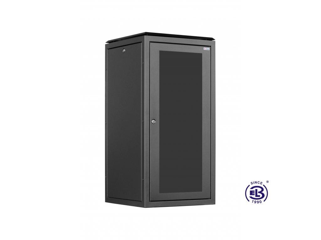 Rozvaděč stojanový SENSA, 15U, 600x600 BK, skleněné dveře