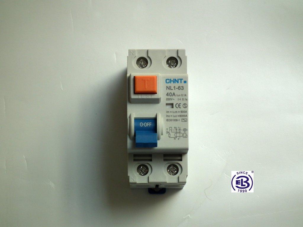 Proudový chránič elektromagnetický 25A/1+N/0,03  NL1-63 ChiNT