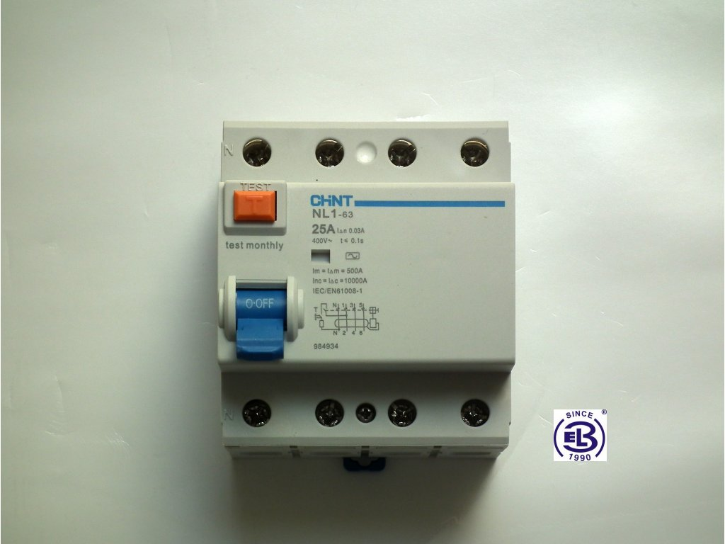 Proudový chránič elektromagnetický 25A/3+N/0,3  NL1-63 ChiNT