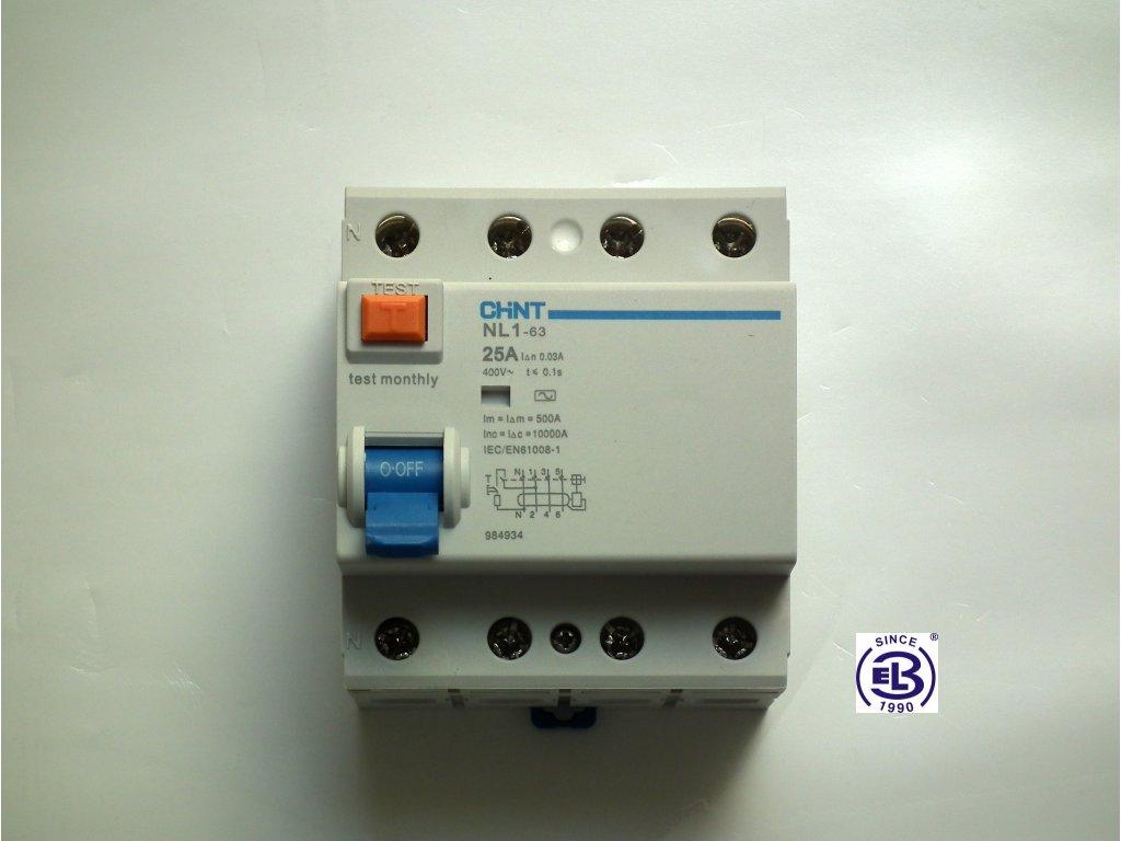 Proudový chránič elektromagnetický 25A/3+N/0,03  NL1-63 ChiNT