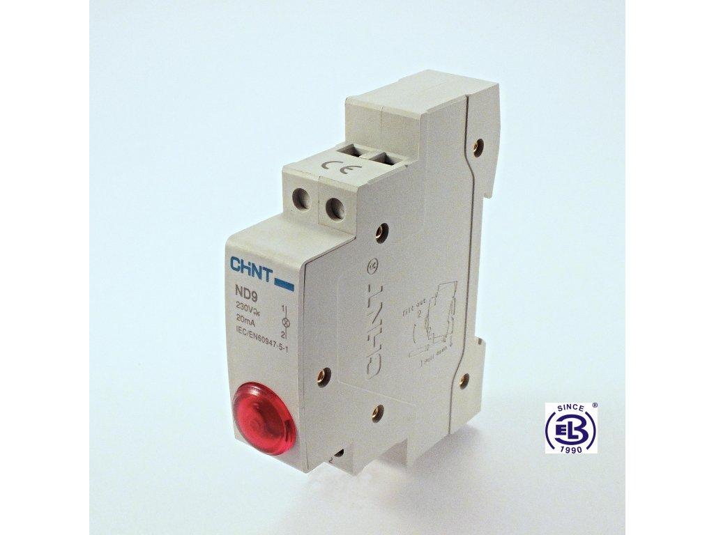Kontrolka led 230V modrá jednonásobná ND9 ChiNT
