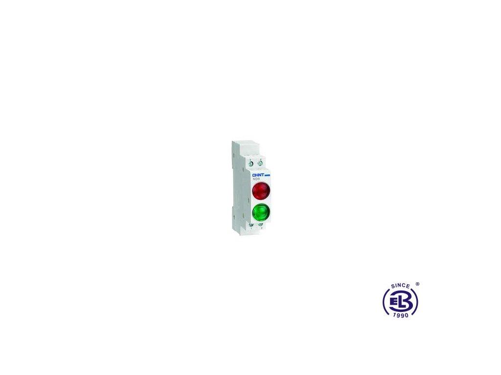 Kontrolka led 230V zelená+bílá dvojnásobná ND9 ChiNT