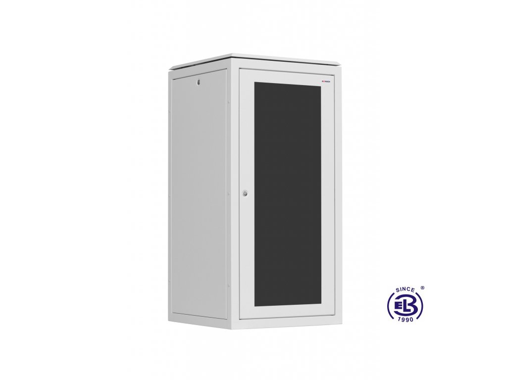 Rozvaděč stojanový SENSA, 24U, 600x600, šedý, skleněné dveře