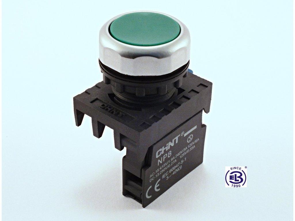 Tlačítko ploché s návratem (neprosvětlené) zelené, 2 spínací a 1 rozpínací kontakt, NP8-21BN/3 ChiNT