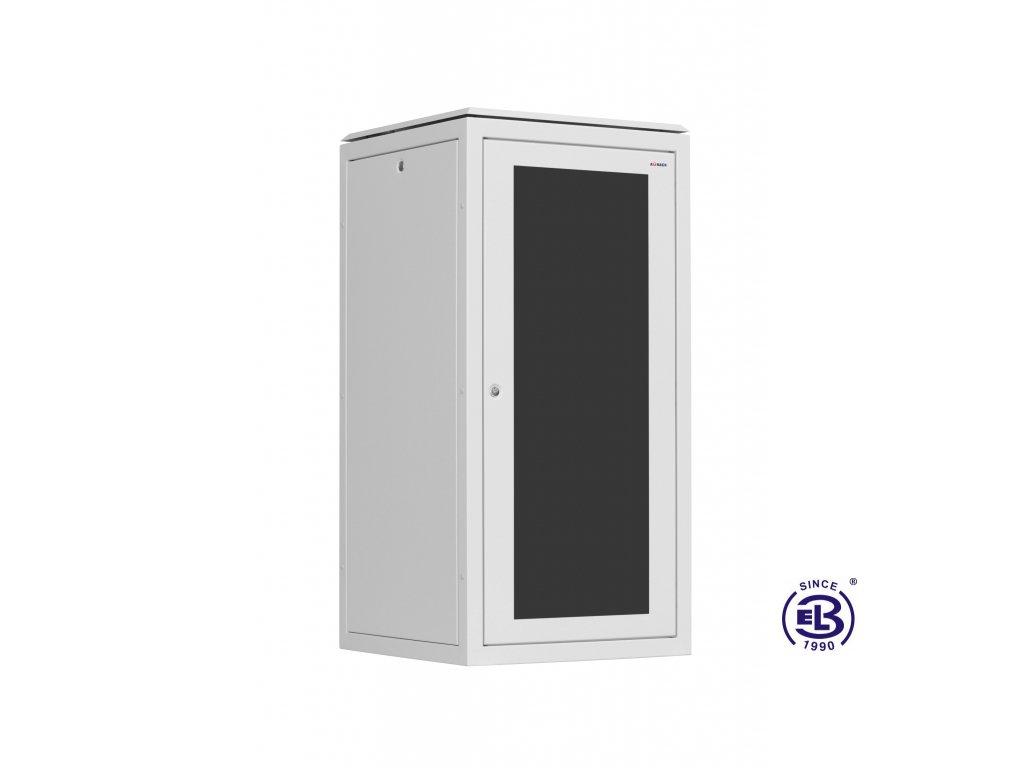 Rozvaděč stojanový SENSA, 24U, 800x800, šedý, skleněné dveře