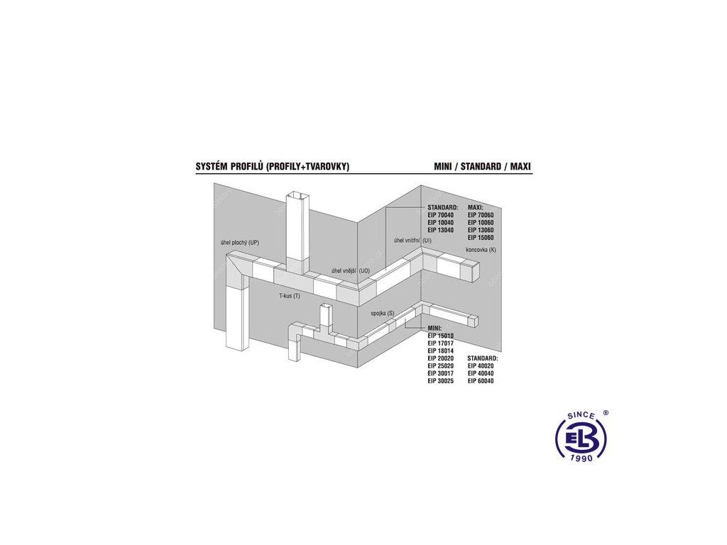 Lišta profilová 38x17mm bílá 2m EIP SPECIAL 38017 Polyprofil