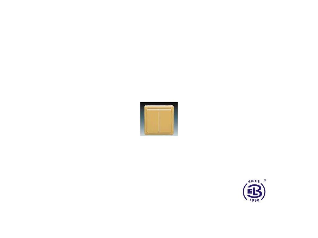 Přepínač střídavý dvojitý Classic, béžový, řazení 6+6 (6+1), 3553-52289D2 ABB