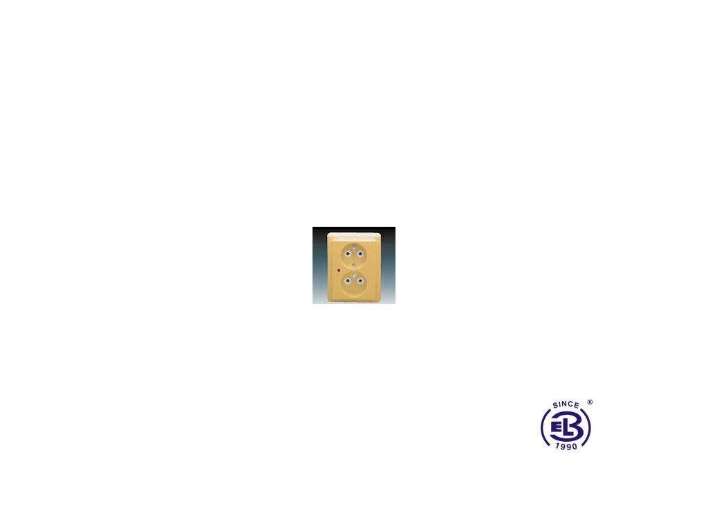 Zásuvka dvojnásobná s ochrannými kolíky, s ochranou před přepětím Classic, béžová, řazení 2x(2P+PE), 5592C-2349D2 ABB