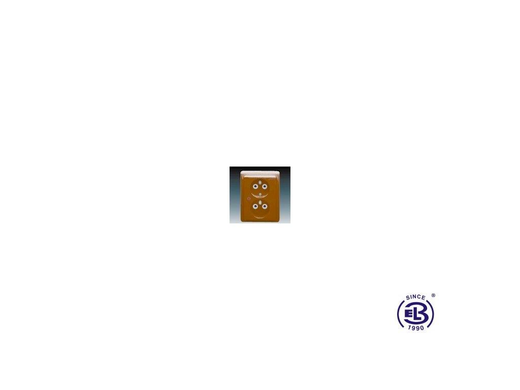 Zásuvka dvojnásobná s ochrannými kolíky, s ochranou před přepětím Classic, hnědá, řazení 2x(2P+PE), 5592C-2349H3 ABB