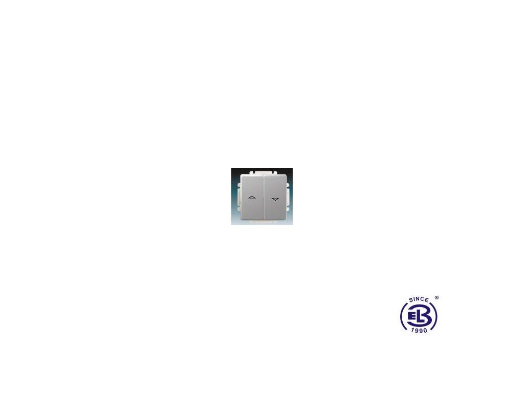 Spínač žaluziový jednopólový s krytem Swing/Swing L, světle šedý, řazení 1+1 s blokováním, 3557G-A89340S1 ABB