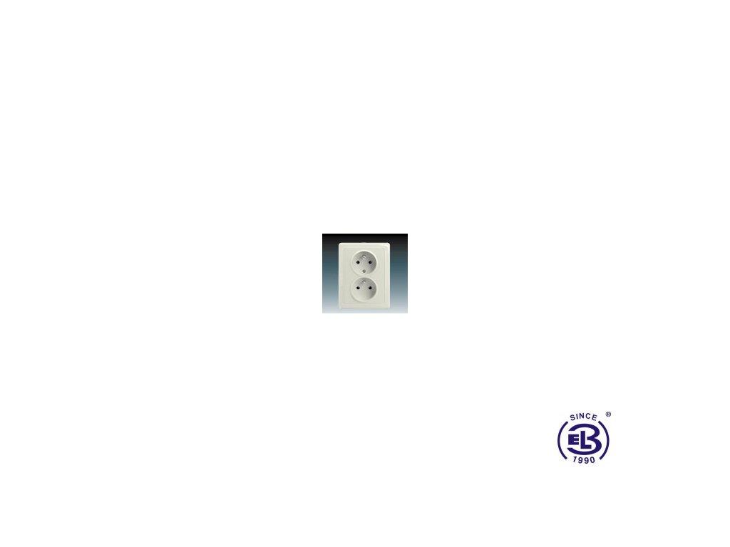 Zásuvka dvojnásobná s ochrannými kolíky Swing/Swing L, krémová, řazení 2x(2P+PE), 5512G-C02349C1 ABB