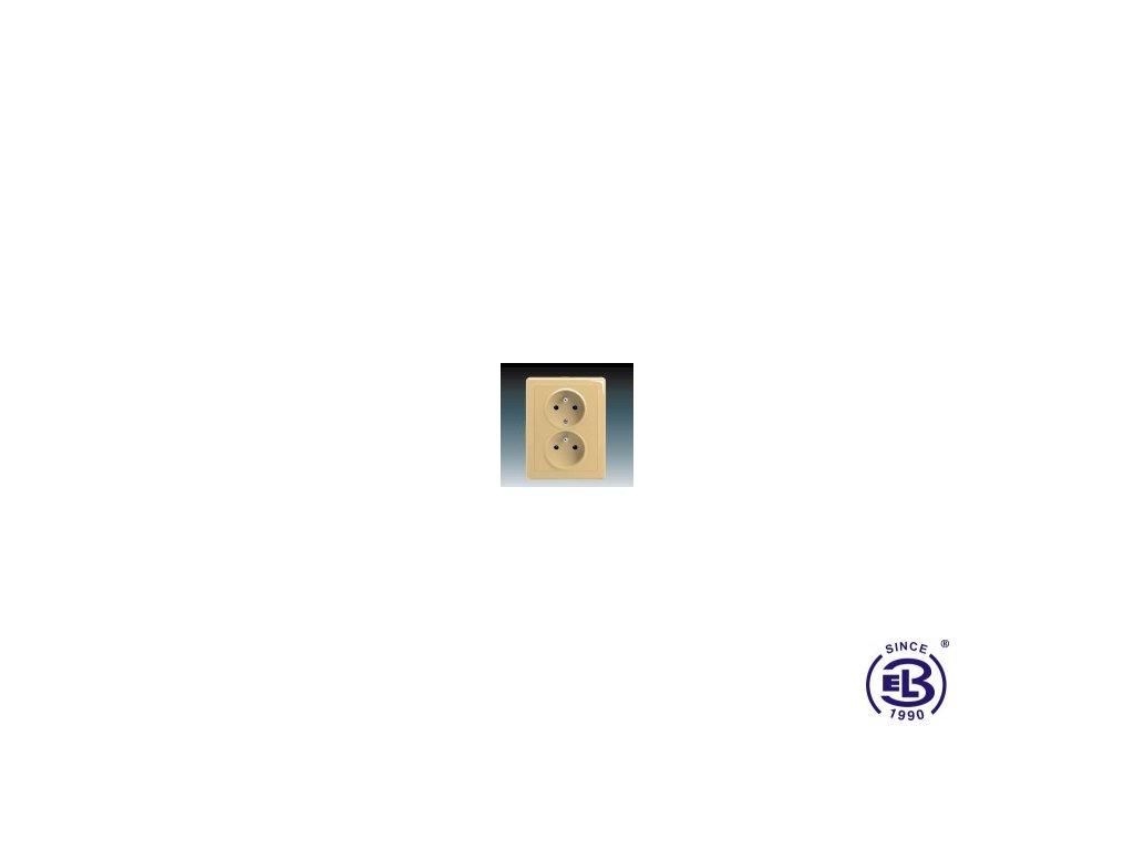Zásuvka dvojnásobná s ochrannými kolíky Swing/Swing L, béžová, řazení 2x(2P+PE), 5512G-C02349D1 ABB