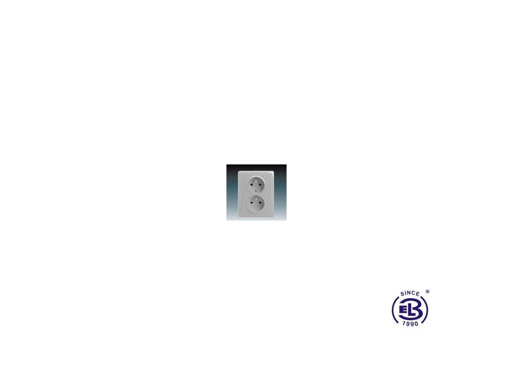 Zásuvka dvojnásobná s ochrannými kolíky Swing/Swing L, světle šedá, řazení 2x(2P+PE), 5512G-C02349S1 ABB
