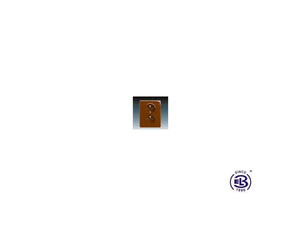 Zásuvka dvojnásobná s ochrannými kolíky Swing/Swing L, hnědá, řazení 2x(2P+PE), 5512G-C02349H1 ABB