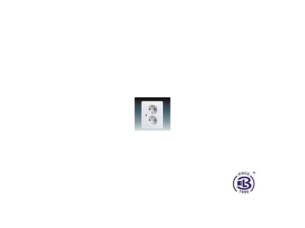Zásuvka dvojnásobná s ochrannými kolíky, s ochranou před přepětím Swing/Swing L, jasně bílá, řazení 2x(2P+PE), 5592G-C02349B1 ABB