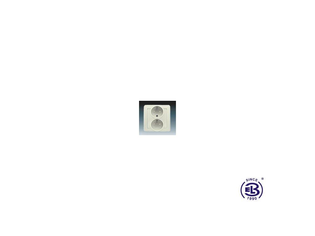 Zásuvka dvojnásobná polozapuštěná s ochrannými kolíky, s clonkami Swing/Swing L, krémová, řazení 2x(2P+PE), 5512J-C02259C1 ABB