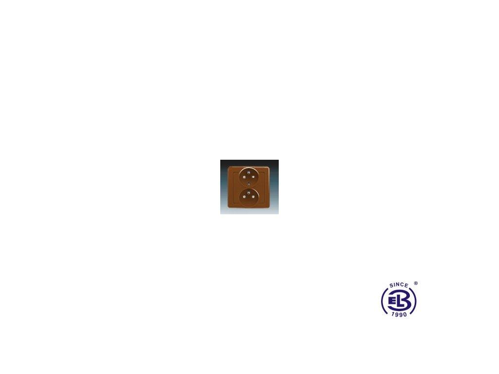 Zásuvka dvojnásobná polozapuštěná s ochrannými kolíky, s clonkami Swing/Swing L, hnědá, řazení 2x(2P+PE), 5512J-C02259H1 ABB