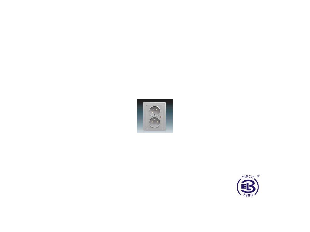 Zásuvka dvojnásobná s ochrannými kolíky, s clonkami, s natočenou dutinkou, s ochranou před přepětím Swing/Swing L, světle šedá, řazení 2x(2P+PE), 5593J-C02357B1S1 ABB