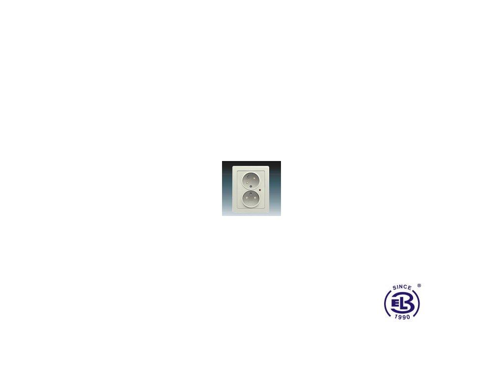 Zásuvka dvojnásobná s ochrannými kolíky, s clonkami, s natočenou dutinkou, s ochranou před přepětím Swing/Swing L, krémová, řazení 2x(2P+PE), 5593J-C02357 B1C1 ABB