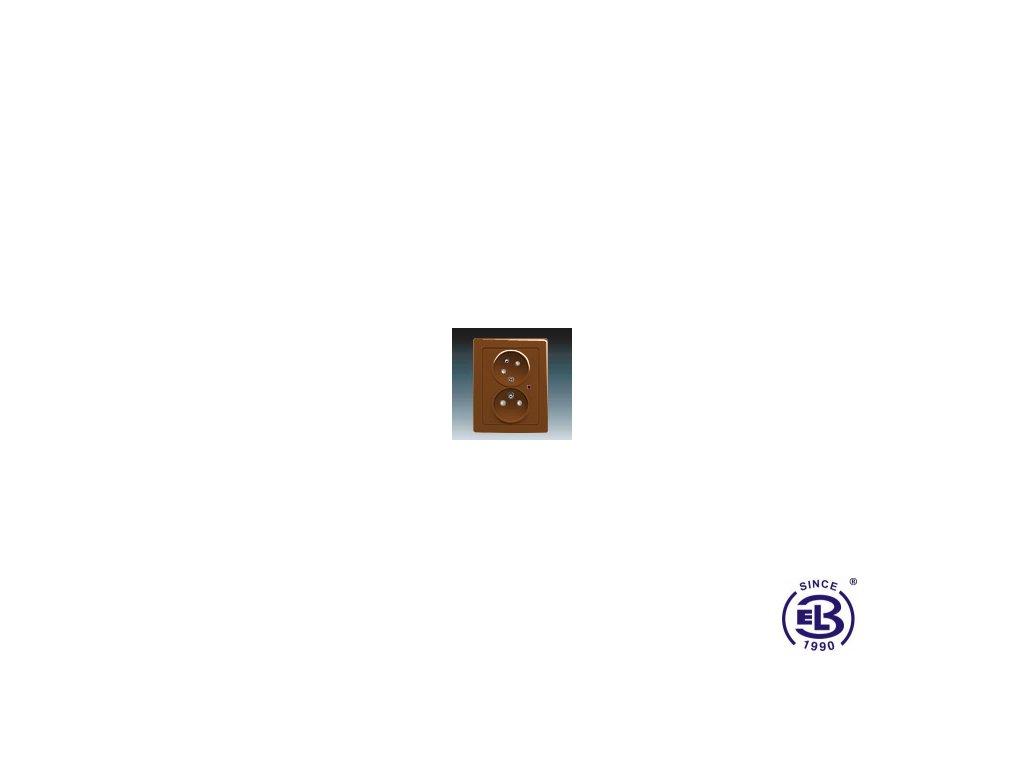 Zásuvka dvojnásobná s ochrannými kolíky, s clonkami, s natočenou dutinkou, s ochranou před přepětím Swing/Swing L, hnědá, řazení 2x(2P+PE), 5593J-C02357H1 ABB