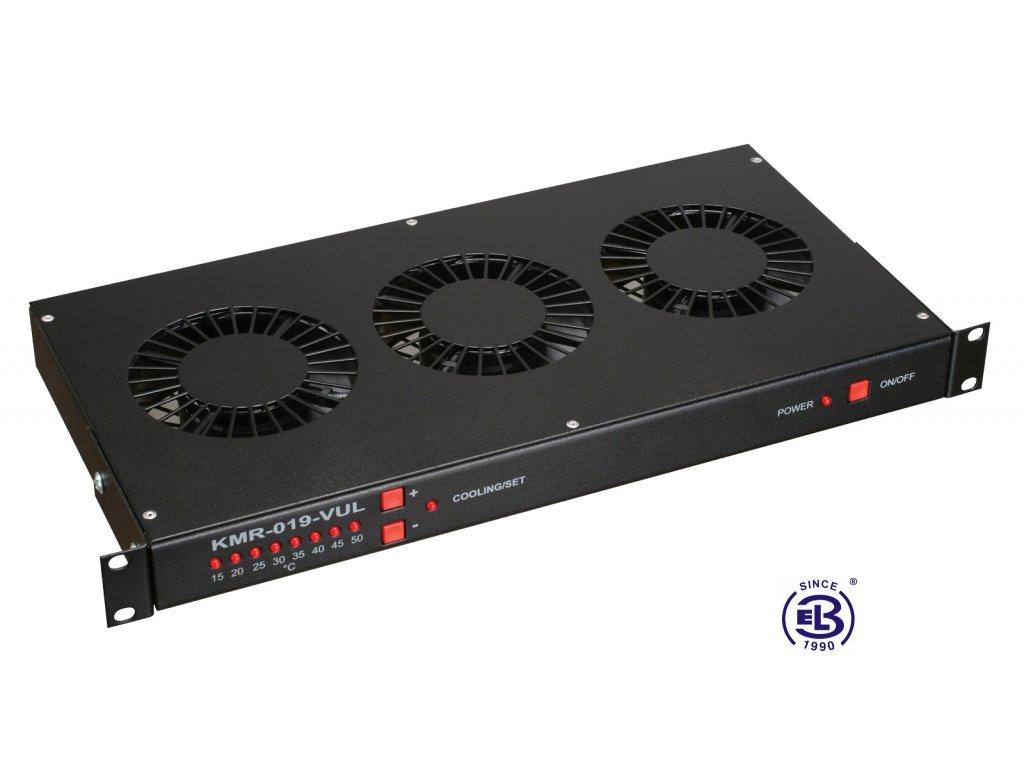 Chladící jednotka s termostatem, 3 ventilátory, výška 1U, černá