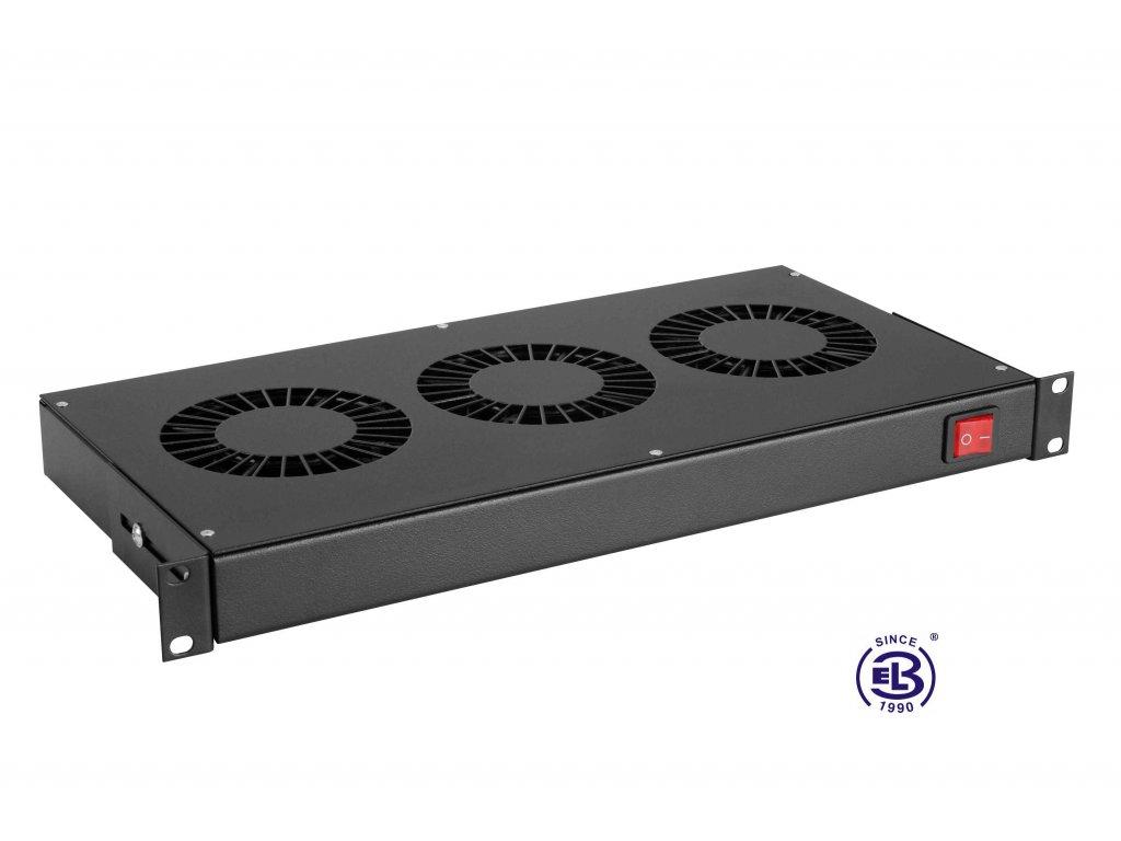 Chladící jednotka bez termostatu, 3 ventilátory, výška 1U, černá