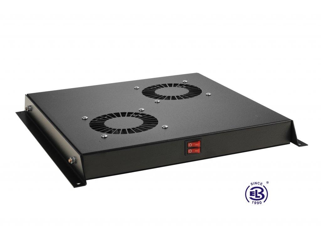 Ventilační jednotka bez termostatu, 2 ventilátory, univerzální, černá