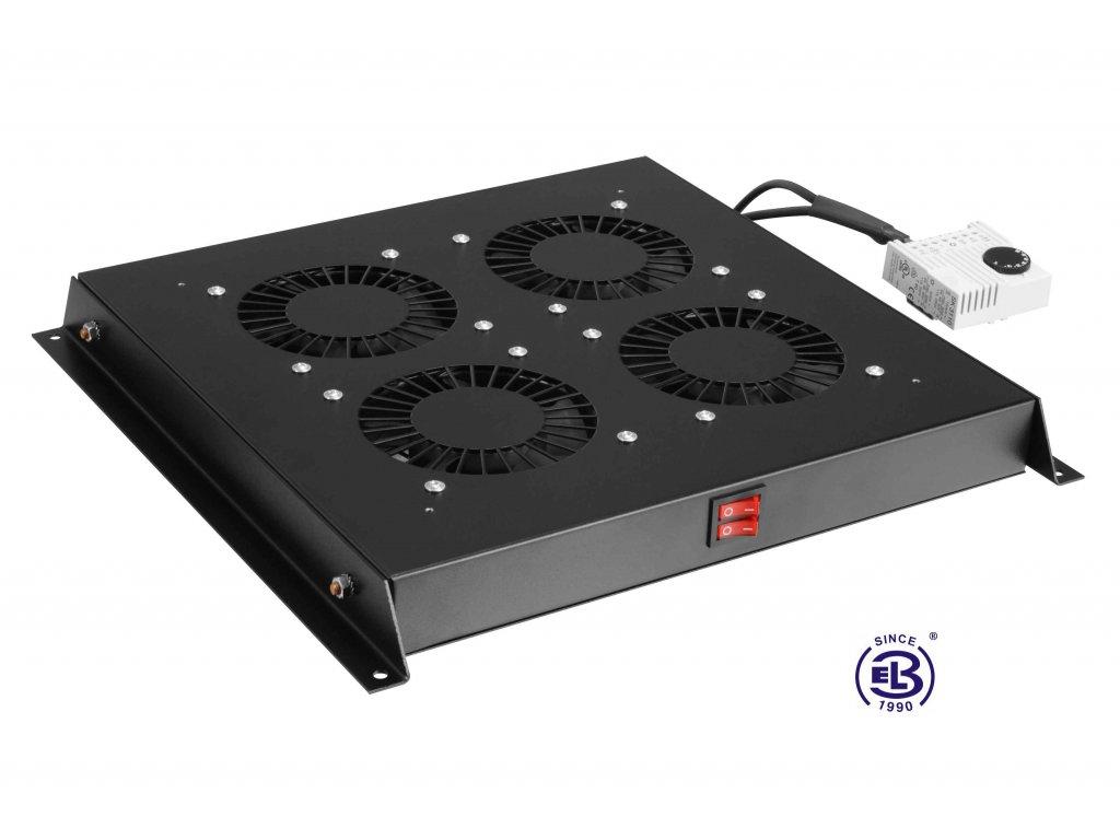 Ventilační jednotka s termostatem, 4 ventilátory, univerzální, černá