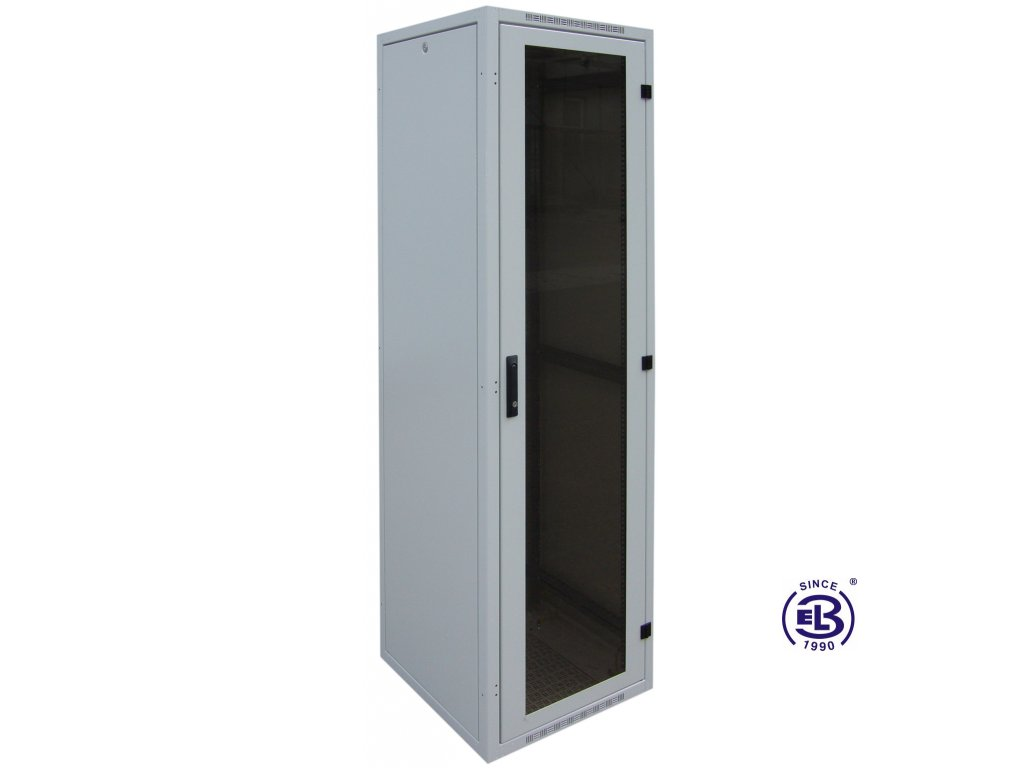 """Rozvaděč nýtovaný 19"""", LC-16+, 15U, 600x600, šedý, skleněné dveře"""