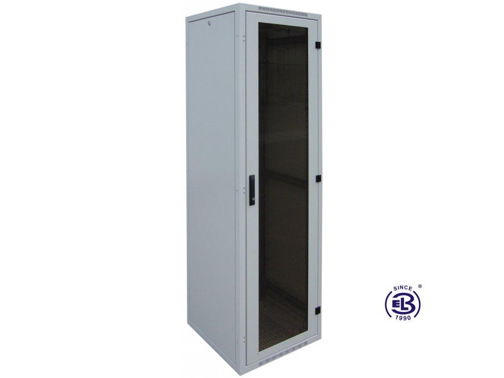 """Rozvaděč nýtovaný 19"""", LC-16+, 24U, 800x800, šedý, skleněné dveře"""